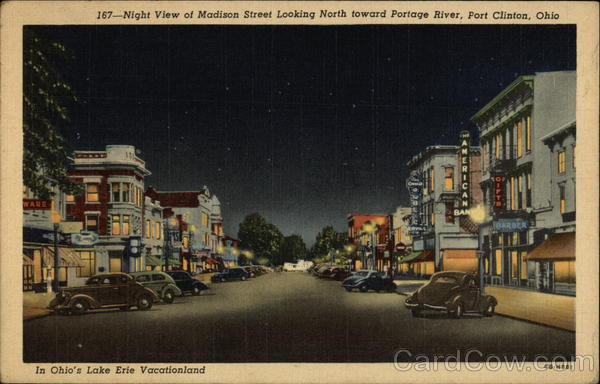 Night View of Madison Street Looking North Toward Portage River Port Clinton Ohio