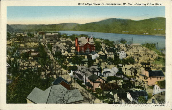 Bird's Eye View showing Ohio River Sistersville West Virginia