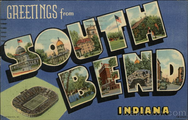 Greetings from South Bend Indiana Large Letter