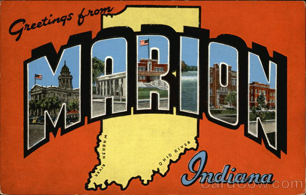 Greetings from Marion Indiana Large Letter