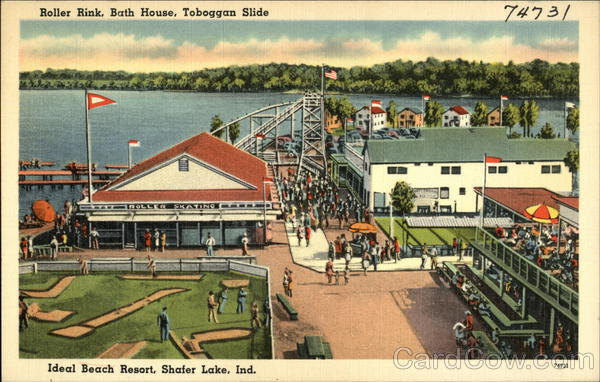 Roller Rink, Bath House, Toboggan Slide, Ideal Beach Resort, Shafer Lake Monticello Indiana