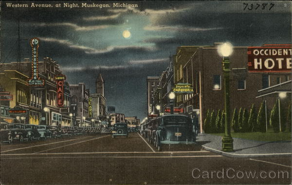 Western Avenue at Night Muskegon Michigan