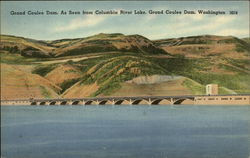 Grand Coulee Dam seen from Columbia River Lake