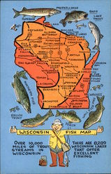Wisconsin Fish Map Postcard
