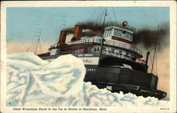 Chief Wawatam stuck in the ice in Straits of Mackinac, Mich.