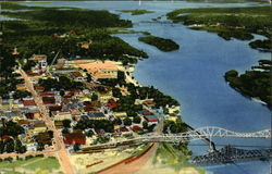 Aerial View of Town and Mississippi River