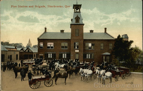 Fire Station and Brigade Sherbrooke Canada Quebec Firemen