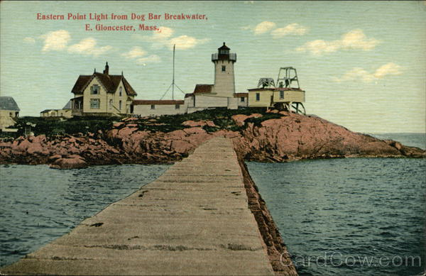 Eastern Point Light from Dog Bar Breakwater East Gloucester Massachusetts