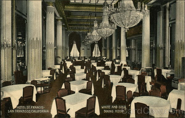 Hotel St. Francis - White and Gold Dining Room San Francisco California