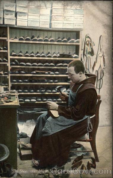 The Shoemaker Monk, Santa Barbara Mission Old Postcard