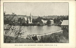 Mill Pond and Methodist Church Postcard
