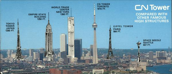 CN Tower compared with other famous historic high structures Toronto Canada