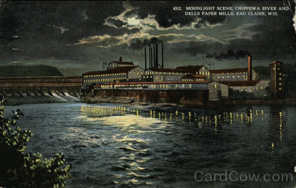 Moonlight Scene, Chippewa River and Dells Paper Mills Eau Claire Wisconsin