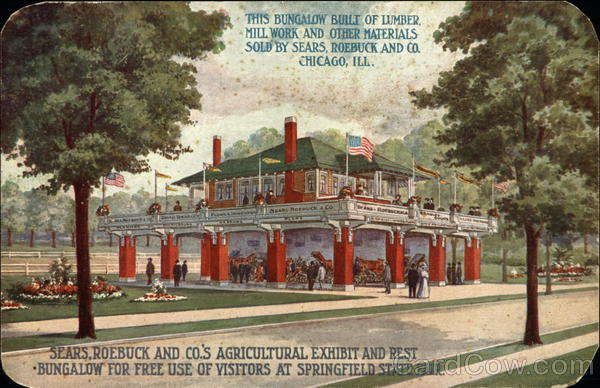 Sears, Roebuck and Co's agricultural exhibit and rest bungalow Springfield Illinois