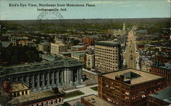 Bird's Eye View, Northeast from Monument Place Postcard