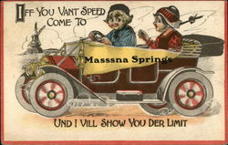 Iff You Vant Speed Come to Massena Springs Und I Vill Show You Der Limit Postcard