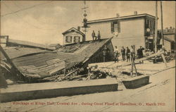 Wreckage at King Hall, Central Ave., During Great Flood at Hamilton, O., March 1913