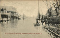 Relief boat landing during Great Flood, March 1913