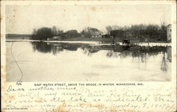 East Water Street above the Bridge in Winter Postcard