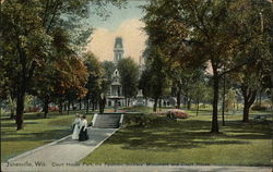 Court House Park, the fountain, Soldier's monument and court house