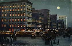 Washington Street at Night Postcard
