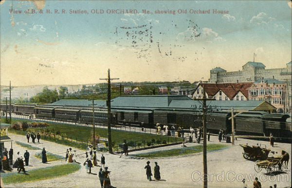 B. & M.R.R. Station showing Old Orchard House Old Orchard Beach Maine