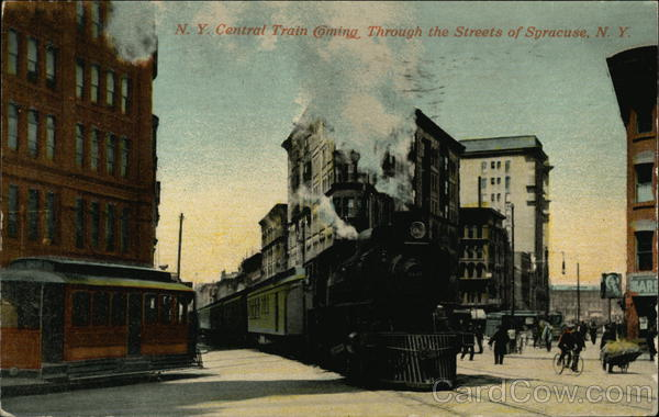 NY Central Train Coming Through Streets of Syracuse New York