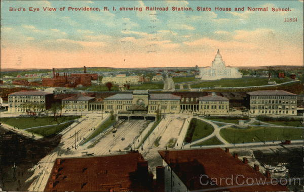 Bird's Eye View of Providence, R.I. Showing Railroad Station, State House and Normal School Rhode Island