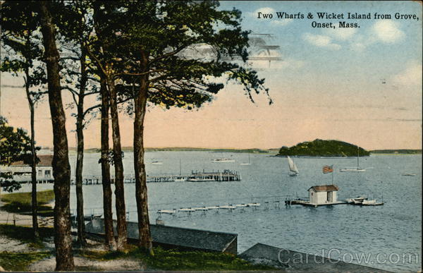 Two Wharfs & Wicket Island from Grove Onset Massachusetts