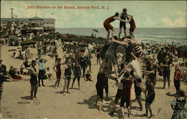 Jolly Bathers on the Beach Asbury Park New Jersey