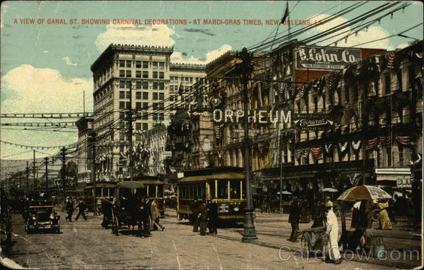 A View of Canal St. Showing Carnival Decorations at Mardi-Gras Times New Orleans Louisiana