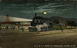 A. T. & S. F. Depot by Moonlight