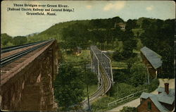 Three Bridges over Green River. [Railroad Electric Railway and Covered Bridge,]