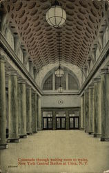 Colonnade Through Waiting Room to Train, New York Central Station at Utica, N.Y.