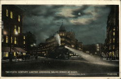Twentieth Century Limited Crossing Salina Street at Night