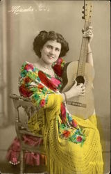 Tinted Spanish Woman with Guitar