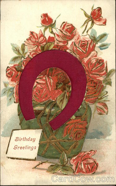 Birthday Greetings - Horseshoe and Roses Silk & Fabric Applique