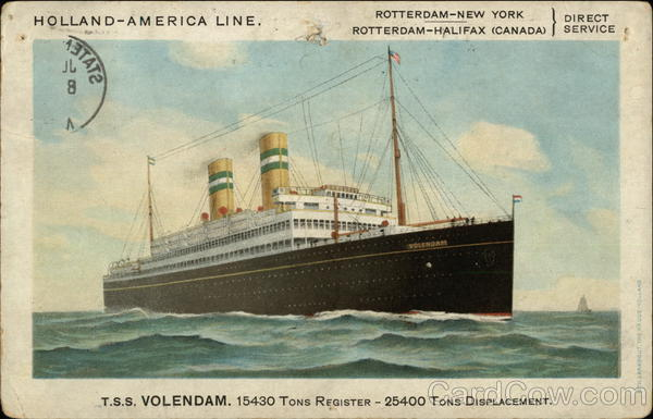 T.S.S. Volendam. Holland-America Line Boats, Ships