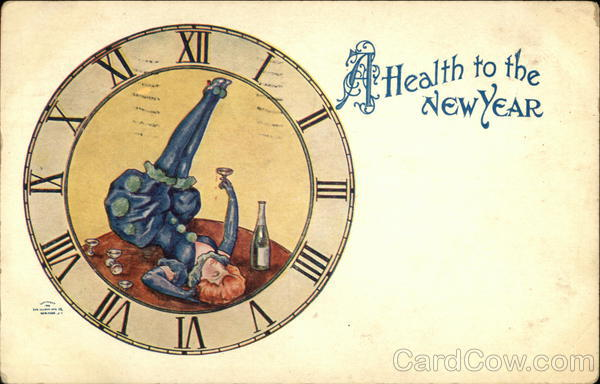 Health to the New Year Old Postcard