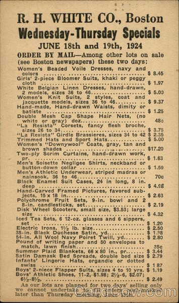R. H. White Co., Boston. Wednesday - Thursday specials. June 18th and 19th, 1924.