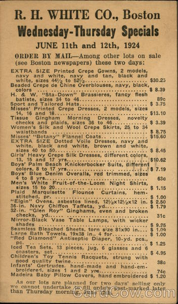 R. H. White Co., Boston. Wednesday - Thursday specials. June 11th and 12th, 1924.