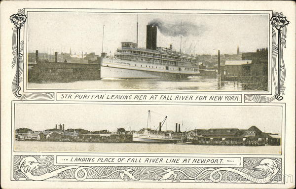 Str. Puritan leaving pier at Fall River for New York