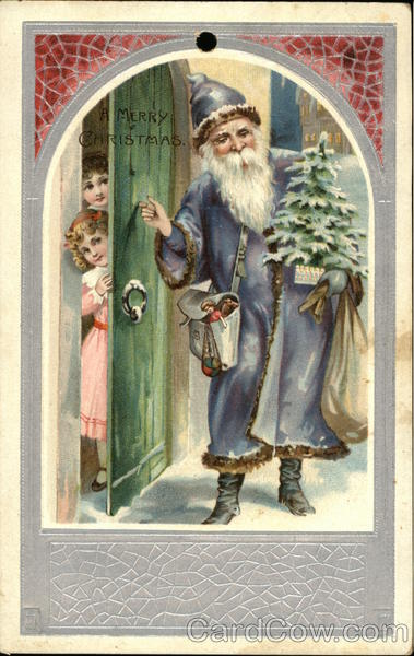 A Merry Christmas - St Nick Knocking on the Door Santa Claus