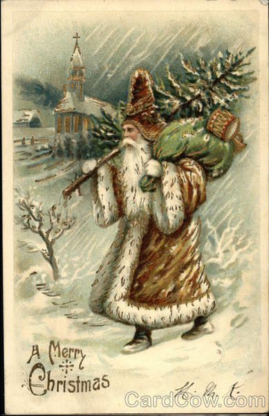 A Merry Christmas - St Nick Carrying Sack and Tree in the Snow