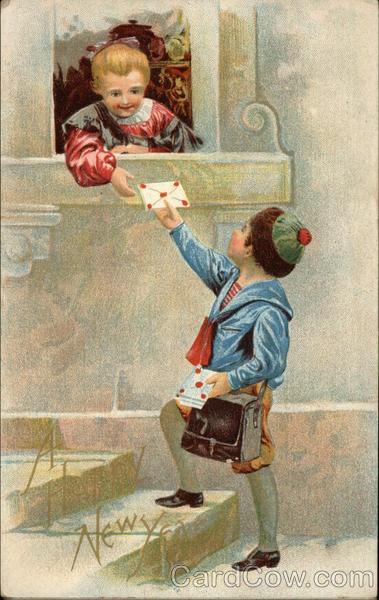 A Happy New Year - Little Girl Accepting Letter from a Little Boy