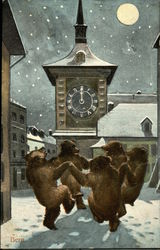 Bern. Bears dancing in the snow at midnight.