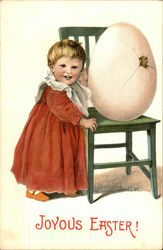 Joyous Easter! - Little Girl with Large Hatching Egg