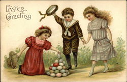 Easter Greeting - Children and Colored Eggs