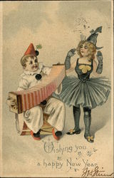 Wishing you a Happy New Year - Clown playing Accordian with Dancer