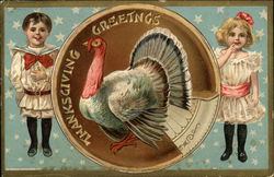 Thanksgiving Greetings - Two Children and a Turkey